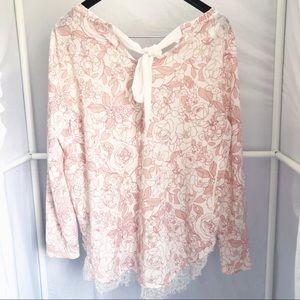 LC Lauren Conrad Sweaters - LC Lauren Conrad Floral Lace Trim Sweater Sz L